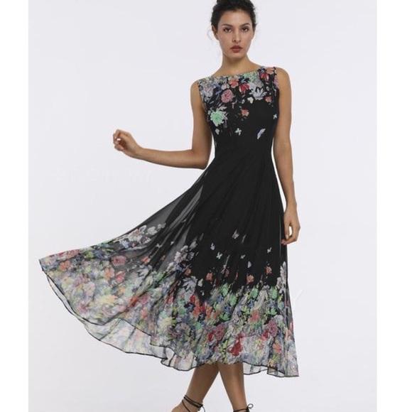 047a7092d558 Floral Boat Neckline Sleeveless Midi Aline Dress
